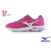Mizuno童鞋 大童鞋 美津濃運動鞋 鞋帶跑步鞋 輕量 透氣跑步鞋 女童運動鞋 H9297 桃紅◆OSOME奧森鞋業