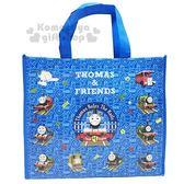 〔小禮堂〕湯瑪士小火車 不織布購物手提袋《藍.火車.滿版》銅板小物 4941829-00585
