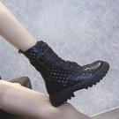 2020年夏季新款網紗鏤空透氣薄款夏天馬丁靴女英倫風百搭涼短靴子 非凡小鋪