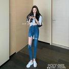 高腰破洞小腳牛仔褲女緊身顯瘦鉛筆褲子夏季2021新款韓版網紅長褲 夏季新品