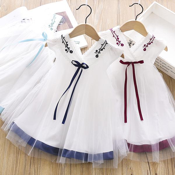 女童洋裝 女童漢服連衣裙2020夏裝新款中國風刺繡網紗公主裙女寶洋氣裙子