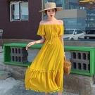 洋裝仙女裙S-XL度假風露肩一字領流蘇邊黃色大裙擺巴厘島沙灘連身裙T356-9026.胖胖唯依