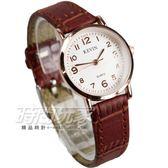 KEVIN 數字時刻簡約時尚腕錶 防水手錶 皮革錶帶 女錶 咖啡x玫瑰金 KV3068咖小