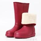 長筒雨靴 超輕便冬季EVA時尚防滑加絨雨鞋女韓版可愛長筒高筒加棉保暖水鞋 夢藝