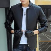 男士皮夾克 秋季修身韓版青少年機車皮衣男學生帥氣潮流外套7758     東川崎町