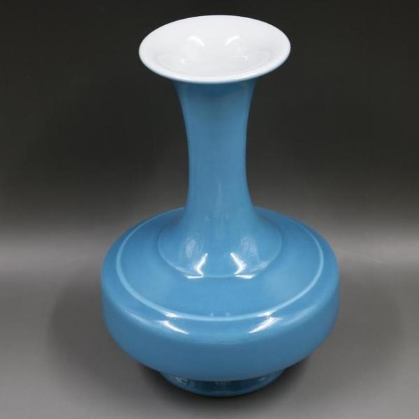 文革建國瓷廠天藍釉賞瓶手工復古家居瓷器裝飾瓷器擺件古玩收藏1入
