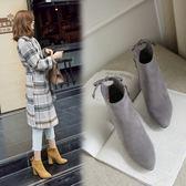 丁果、大尺碼女鞋34-43►韓版磨砂皮後繫帶高跟短靴*3色
