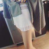 夏百褶內搭安全褲寬鬆百搭蕾絲拼接雙層防走光打底褲女保險褲短褲