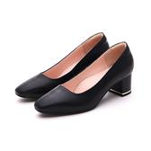 MICHELLE PARK 復古女伶 羊皮方頭寬鞋口金屬鑲嵌粗跟鞋-黑色