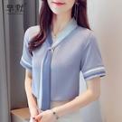 雪紡襯衫女士設計感小眾襯衣夏季2021年新款撞色領帶短袖t恤女潮 8號店