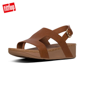 【FitFlop】MARLI H-BAR LEATHER BACK STRAP SANDALS H型釘飾皮革涼鞋-女(淺褐色)