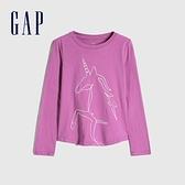 Gap女童 童趣風格獨角獸圓領長袖T恤 650392-淺紫紅