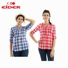 [EiDER] 女排汗透氣抗UV短袖襯衫 - 紫藍格、玫紅格 (EIT2671)
