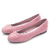 G.Ms. 蛇紋羊皮蝴蝶結芭蕾娃娃鞋-粉紅