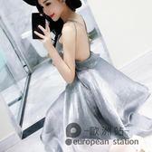 露背洋裝/夏季連身裙女裝度假女神性感修身海邊閃亮交叉吊帶禮服裙「歐洲站」