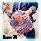 彩色編織蛇紋拉鍊手提包雙肩包休閒包後背包街頭時尚圖騰-天藍/藍【AAA0812】預購