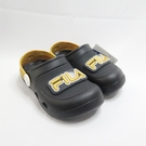 FILA 涼鞋 兒童拖鞋 電燈園丁鞋 中童鞋 7S451V099 閃燈鞋 黑金【iSport愛運動】