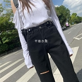 春夏黑色直筒新款牛仔褲女學生韓版寬鬆高腰顯瘦百搭小個子九分褲 快速出貨