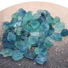 水晶石 如鴻天然水晶原石毛料藍綠色螢石原石礦石擺件魚缸裝飾石頭碎顆粒 快速出貨