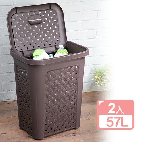 特惠-《真心良品》藤蔓風多用途洗衣置物籃(2入)