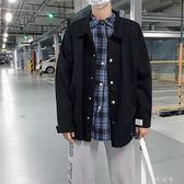 港風牛仔外套男士韓版潮流工裝夾克春修身帥氣學生棒球服 町目家