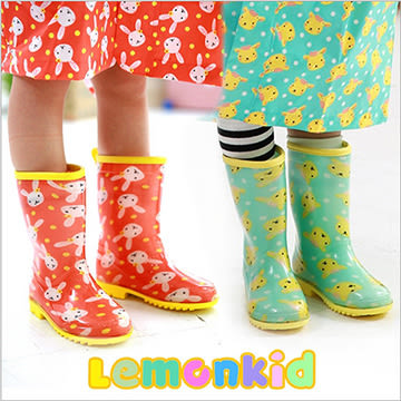 Lemonkid 檸檬寶寶 兒童 雨鞋 滿版 動物 果凍色 男女款 24506