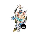 紋身貼 日式貓咪防水紋身貼 男女手臂大圖持久耐磨紋身貼