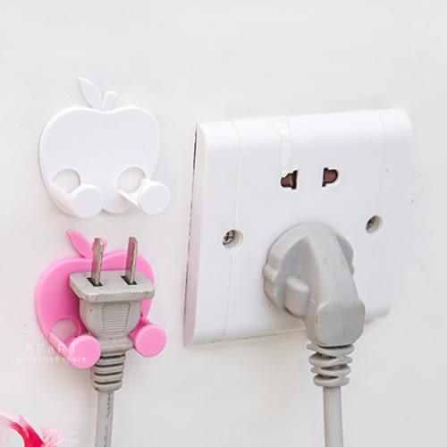 自黏式蘋果造型插頭掛勾 電線收納 收線掛勾