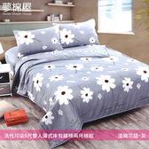 活性印染5尺雙人薄式床包+鋪棉兩用被組-溫婉花語-灰/夢棉屋