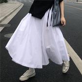 港風 顯瘦高腰白色大裙擺半身長裙  小眾 傘裙 早春搭配