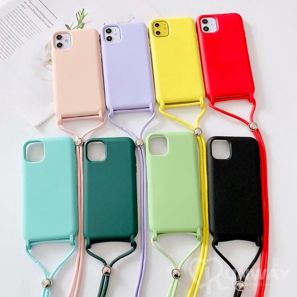 一體色系 液態矽膠手機殼 斜背掛繩 iPhone XR XS 7 8 SE2 蘋果手機殼 矽膠軟殼 防摔殼 保護殼