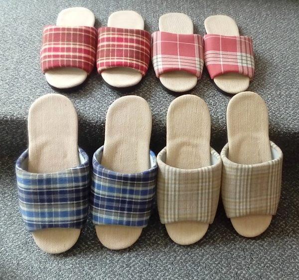 (e鞋院) MIT格紋亞麻室內拖鞋