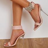 歐美新款蝴蝶結水晶跟高跟水鉆一字涼鞋女 夜店舞臺表演高跟鞋