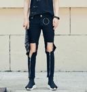 找到自己 MD 韓國 潮 男 嘻哈 街頭時尚 膝蓋破洞拉鏈裝飾 另類 夜店DJ發型師 小腳褲 牛仔褲 九分褲