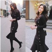 現貨不退換黑色L長袖洋裝25865#冬季新款韓版修身氣質長款毛衣裙打底裙包臀針織連身裙皇潮天下