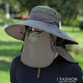 釣魚帽子男遮陽帽夏季戶外防曬太陽帽大檐垂釣透氣漁夫帽涼帽-Ifashion