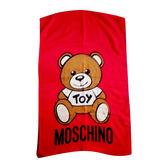【台中米蘭站】全新品 MOSCHINO Toy Bear Scarf 玩具小熊 羊毛混絲 披肩/圍巾(紅)