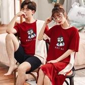 2套價 夏季情侶睡衣純棉 男休閑套裝 韓版可愛睡裙女 短袖薄款家居服