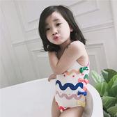 兒童泳裝女女童游泳衣連體女孩可愛小公主游泳裝【步行者戶外生活館】