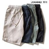 懶人冠軍亞麻短褲男寬鬆涼薄款沙灘褲