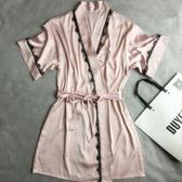 真絲睡袍女夏天女士浴袍大碼粉色系帶浴衣