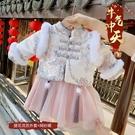 長袖套裝裙 新年款女童織錦綉花套裝