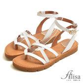 專櫃女鞋 夾腳交叉踝釦平底涼鞋-艾莉莎Alisa【2341077】白色下單區