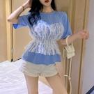 蕾絲上衣 蕾絲假兩件短袖t恤女韓版寬鬆ins潮原宿風設計感小眾很仙的上衣服 古梵希鞋包