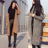 針織外套 秋冬新款韓版中長款開衫毛呢外套女士寬鬆毛衣加厚針織衫外搭