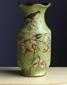 【協貿國際】綠地木蘭對鳥花瓶