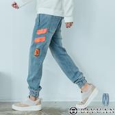 【OBIYUAN】縮口褲牛仔褲 長褲  鬆緊 美式 印花 休閒褲 共1色【X190727】