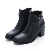 MICHELLE PARK 美型穿搭 雙皮帶小飾扣高跟短靴-黑