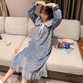 睡衣女秋冬季加厚法蘭絨睡裙中長款珊瑚絨家居服【時尚大衣櫥】