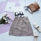 洋芋妹-高腰格紋顯瘦款側拉鍊A字短裙【SB10625】
